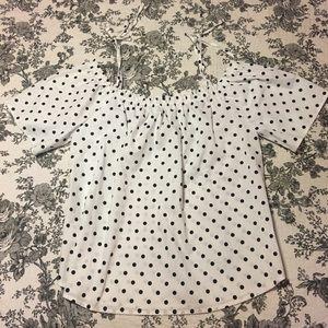 Black and White Polka Dit Off-the-Shoulder Shirt